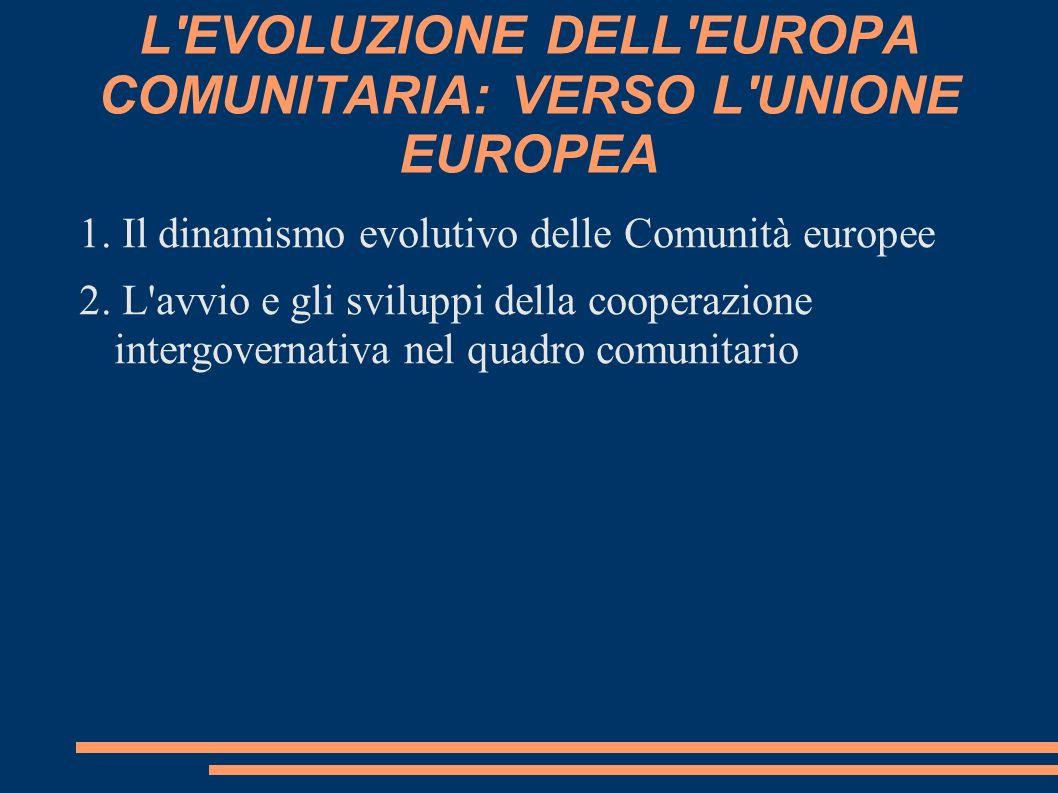L EVOLUZIONE DELL EUROPA COMUNITARIA: VERSO L UNIONE EUROPEA