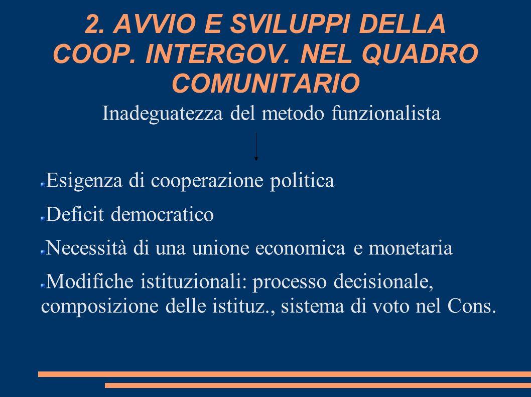 2. AVVIO E SVILUPPI DELLA COOP. INTERGOV. NEL QUADRO COMUNITARIO