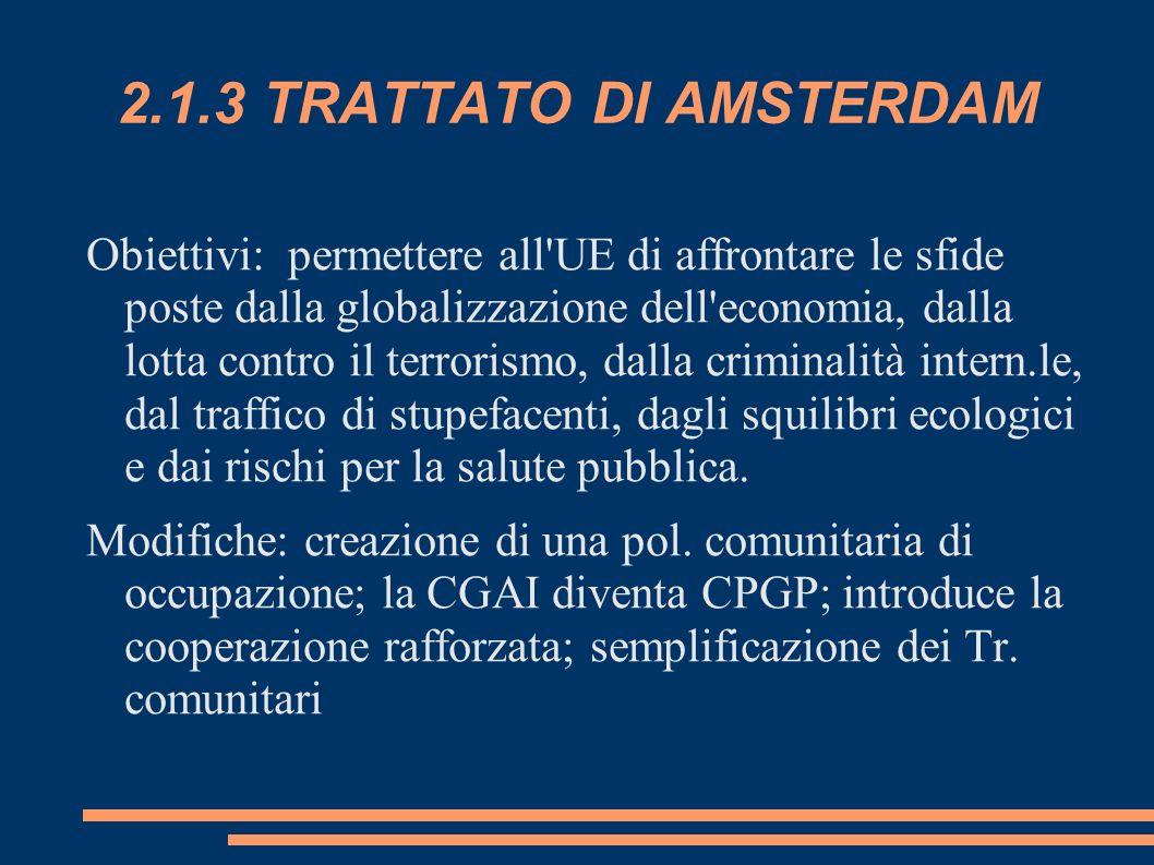 2.1.3 TRATTATO DI AMSTERDAM