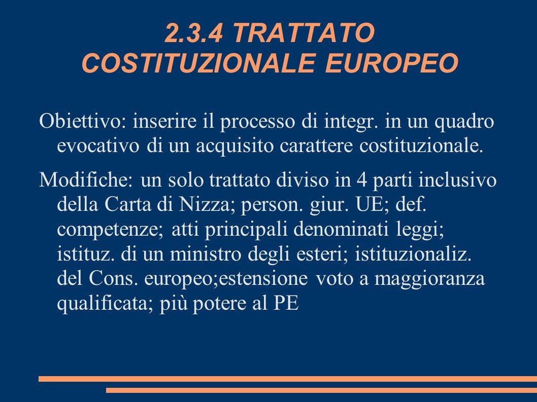 2.3.4 TRATTATO COSTITUZIONALE EUROPEO
