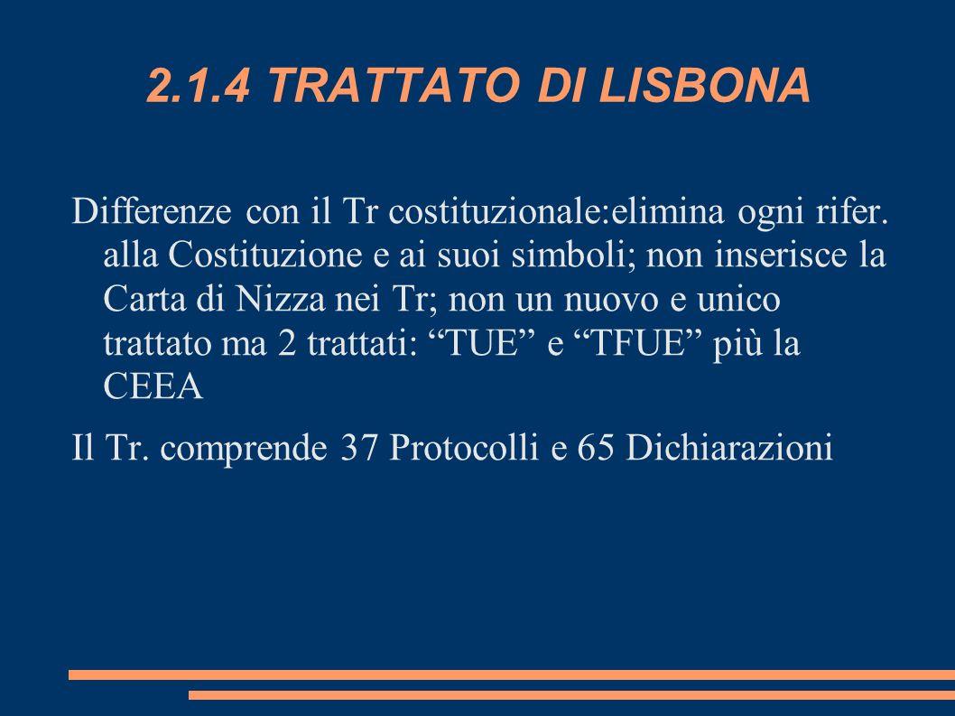 2.1.4 TRATTATO DI LISBONA