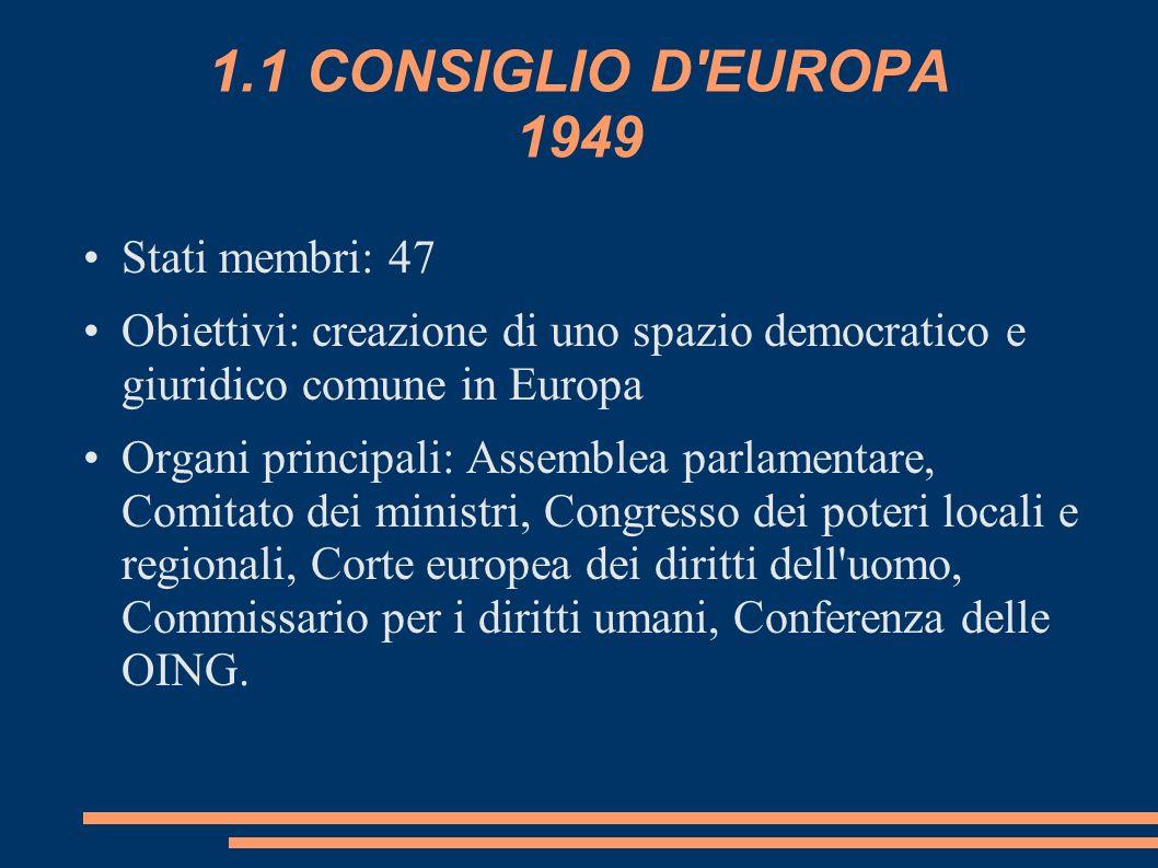 1.1 CONSIGLIO D EUROPA 1949 Stati membri: 47