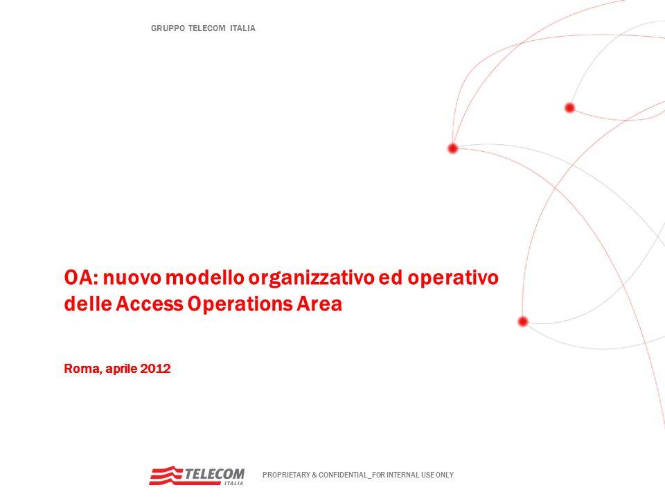OA: nuovo modello organizzativo ed operativo delle Access Operations Area Roma, aprile 2012