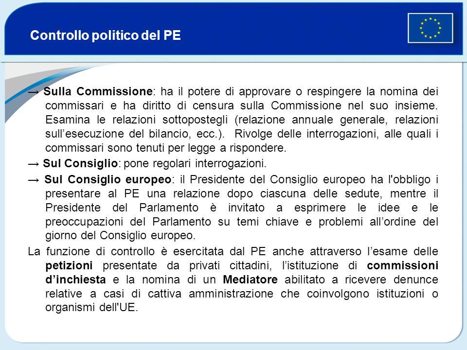 Controllo politico del PE