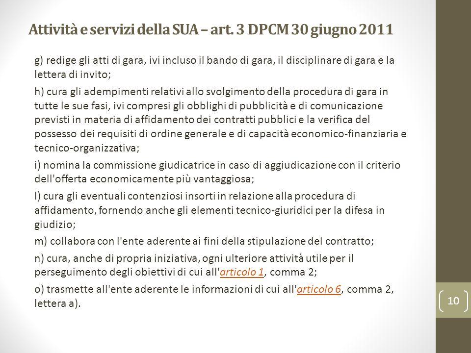 Attività e servizi della SUA – art. 3 DPCM 30 giugno 2011