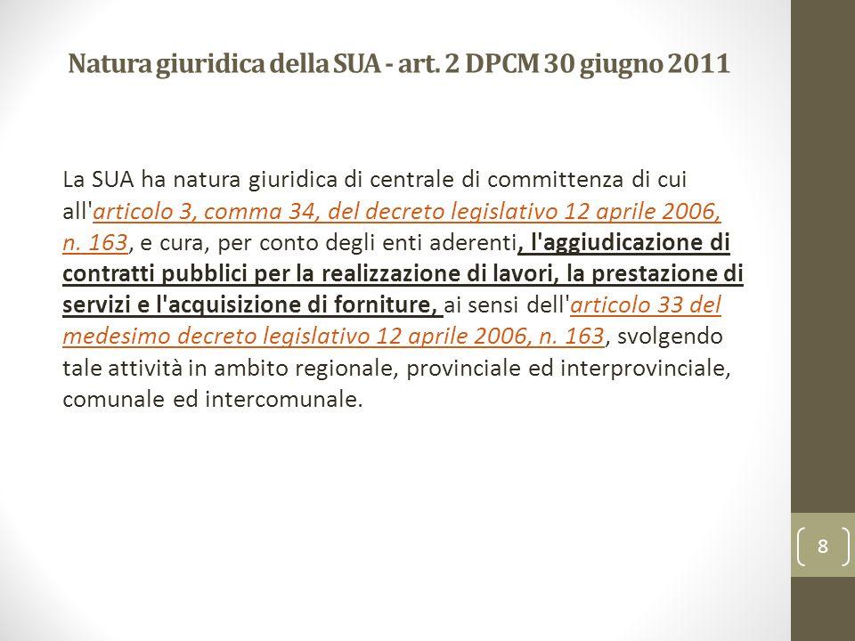 Natura giuridica della SUA - art. 2 DPCM 30 giugno 2011