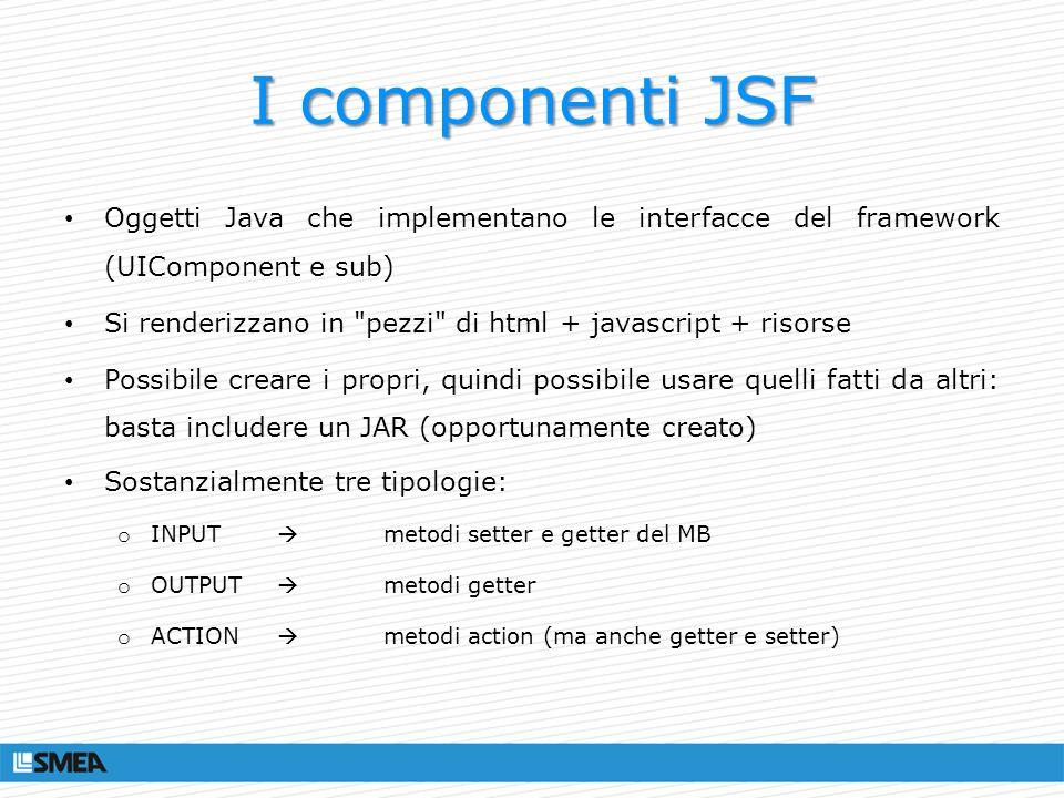 I componenti JSF Oggetti Java che implementano le interfacce del framework (UIComponent e sub)