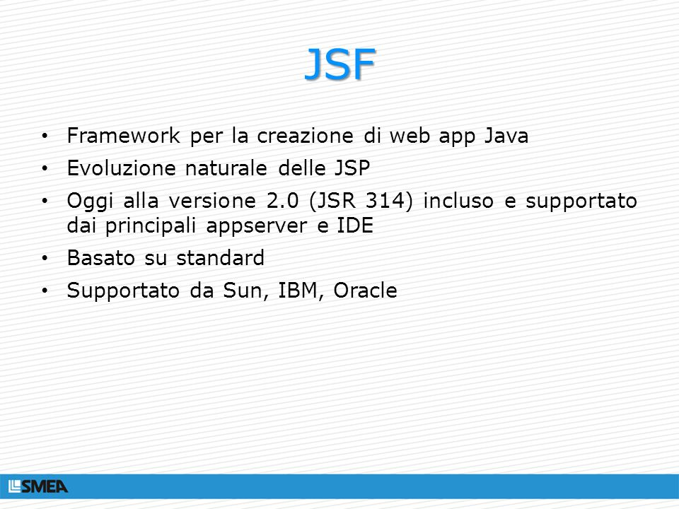 JSF Framework per la creazione di web app Java