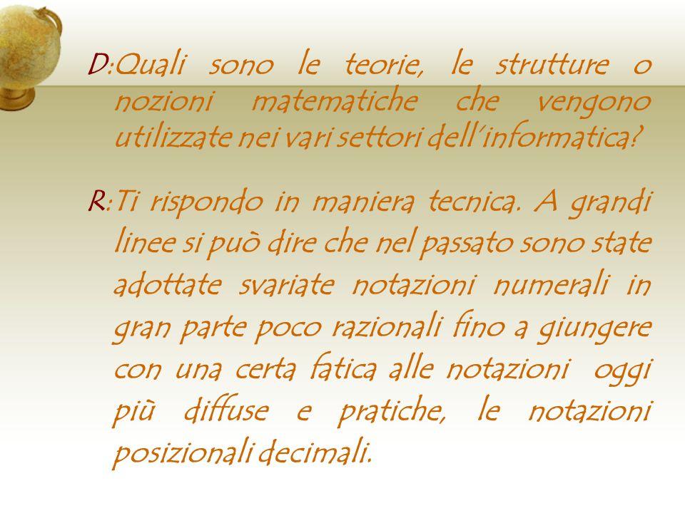 D:Quali sono le teorie, le strutture o nozioni matematiche che vengono utilizzate nei vari settori dell'informatica
