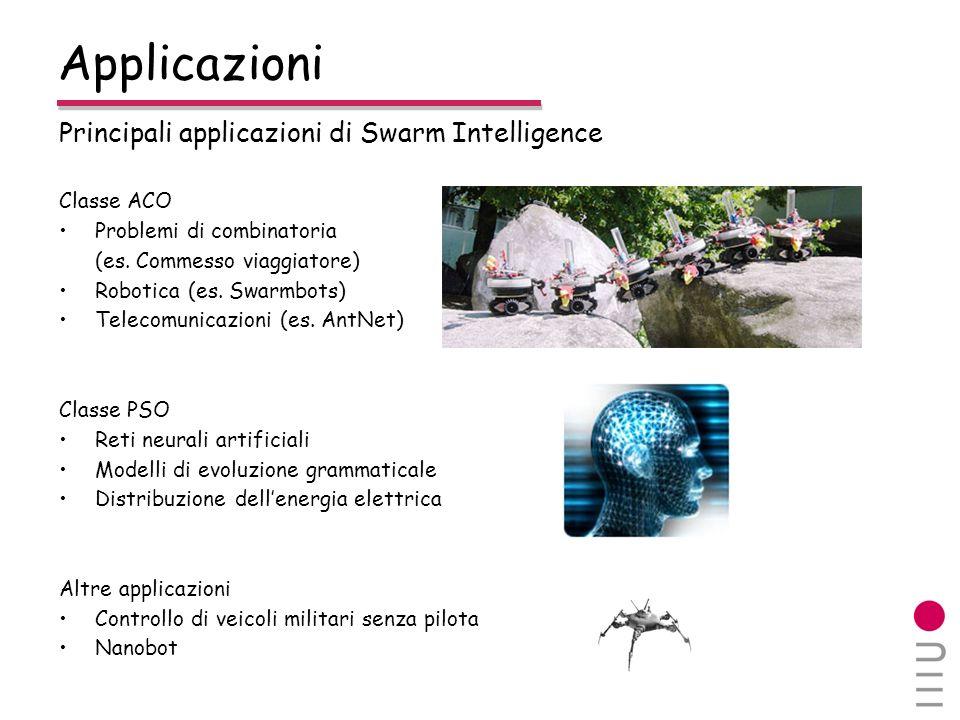 Applicazioni Principali applicazioni di Swarm Intelligence Classe ACO