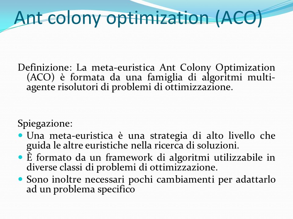 Ant colony optimization (ACO)