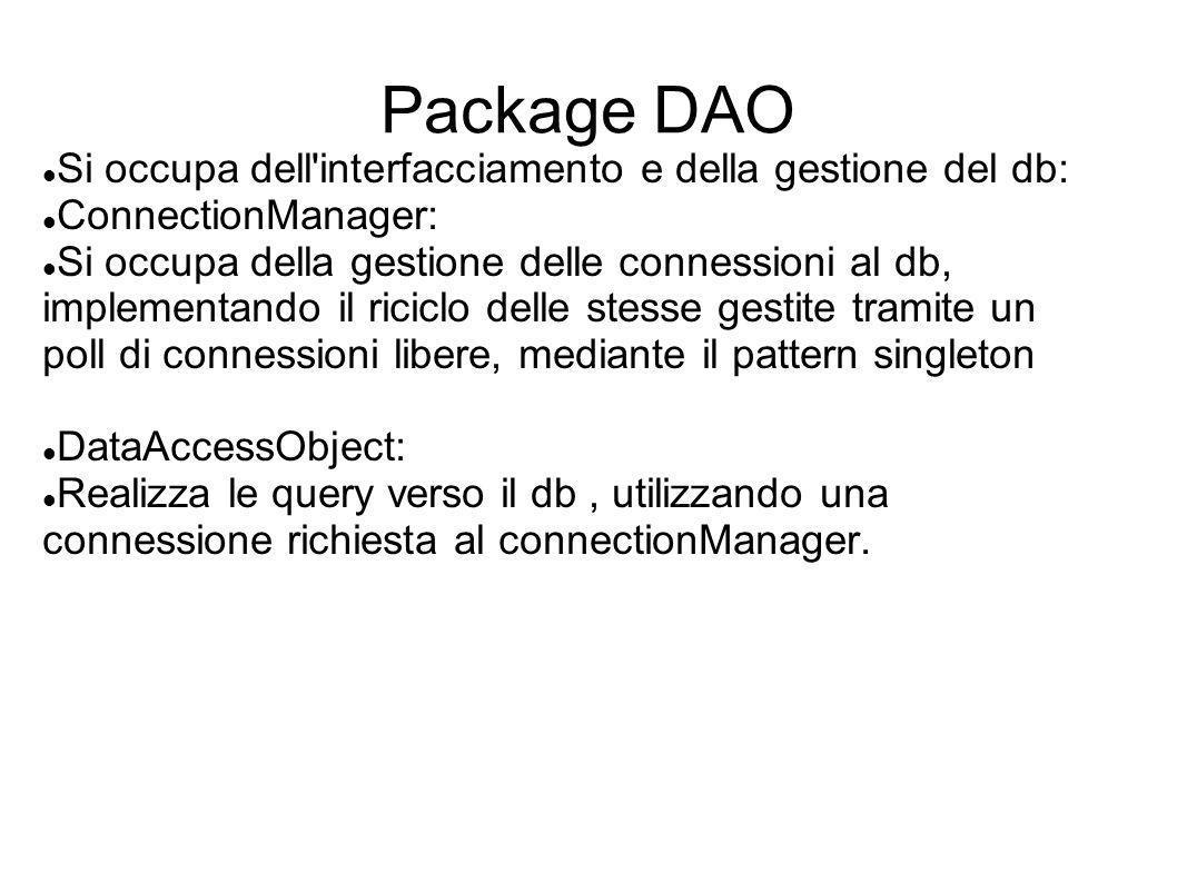 Package DAO Si occupa dell interfacciamento e della gestione del db: