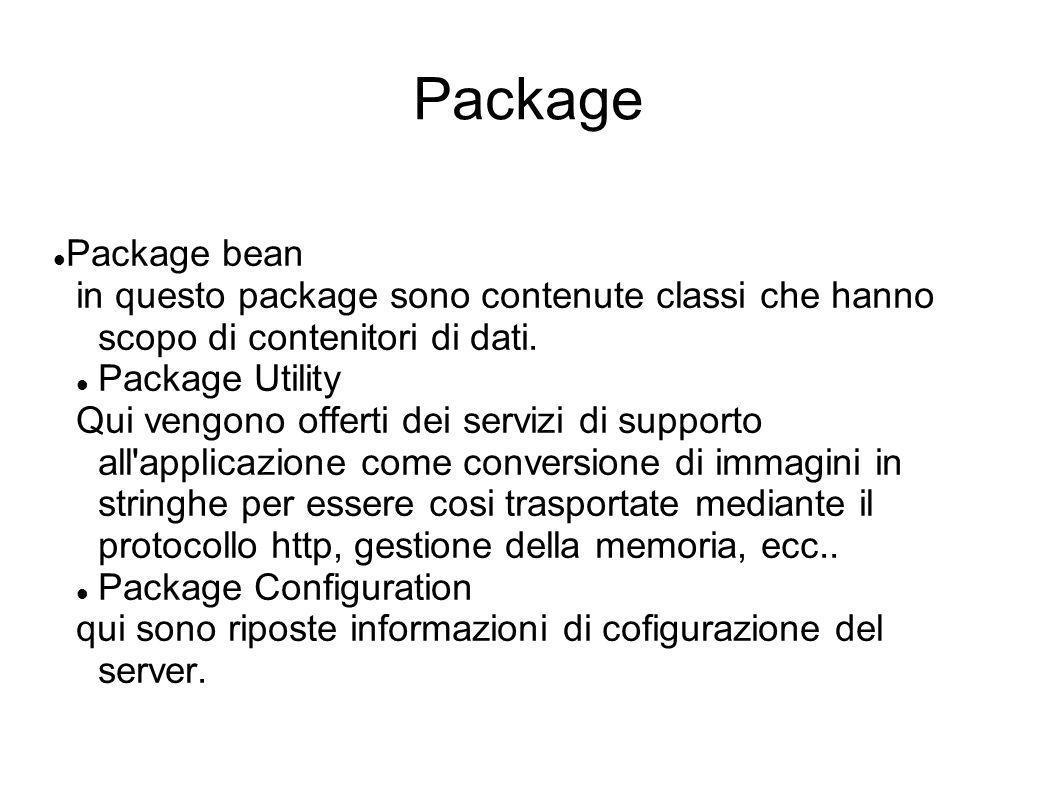 Package Package bean. in questo package sono contenute classi che hanno scopo di contenitori di dati.