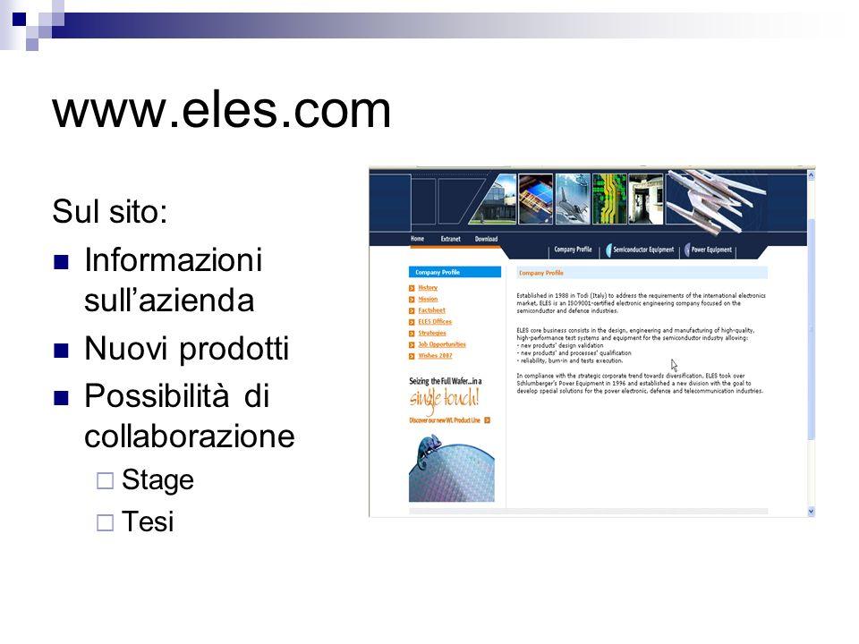 www.eles.com Sul sito: Informazioni sull'azienda Nuovi prodotti