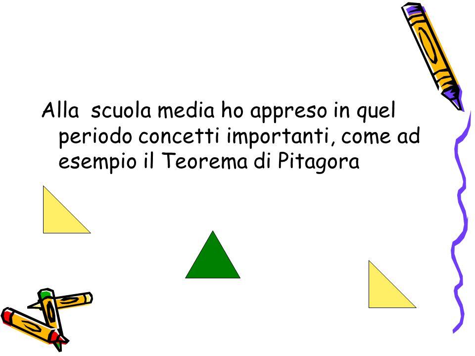 Alla scuola media ho appreso in quel periodo concetti importanti, come ad esempio il Teorema di Pitagora