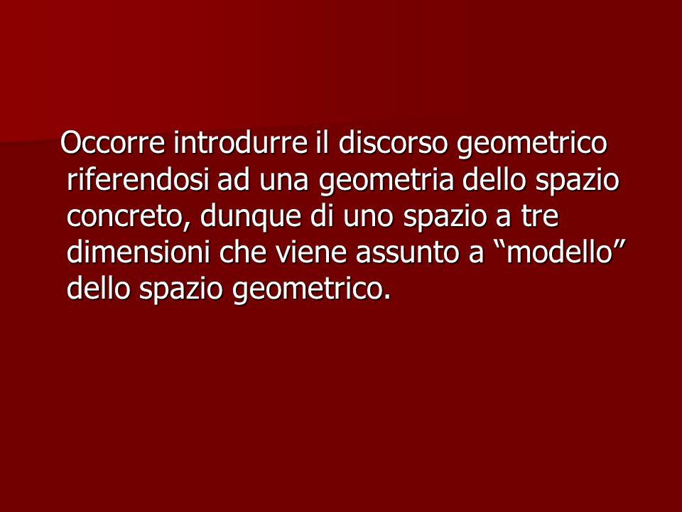 Occorre introdurre il discorso geometrico riferendosi ad una geometria dello spazio concreto, dunque di uno spazio a tre dimensioni che viene assunto a modello dello spazio geometrico.