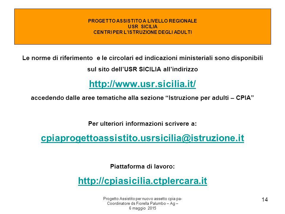 Piattaforma di lavoro: http://cpiasicilia.ctplercara.it