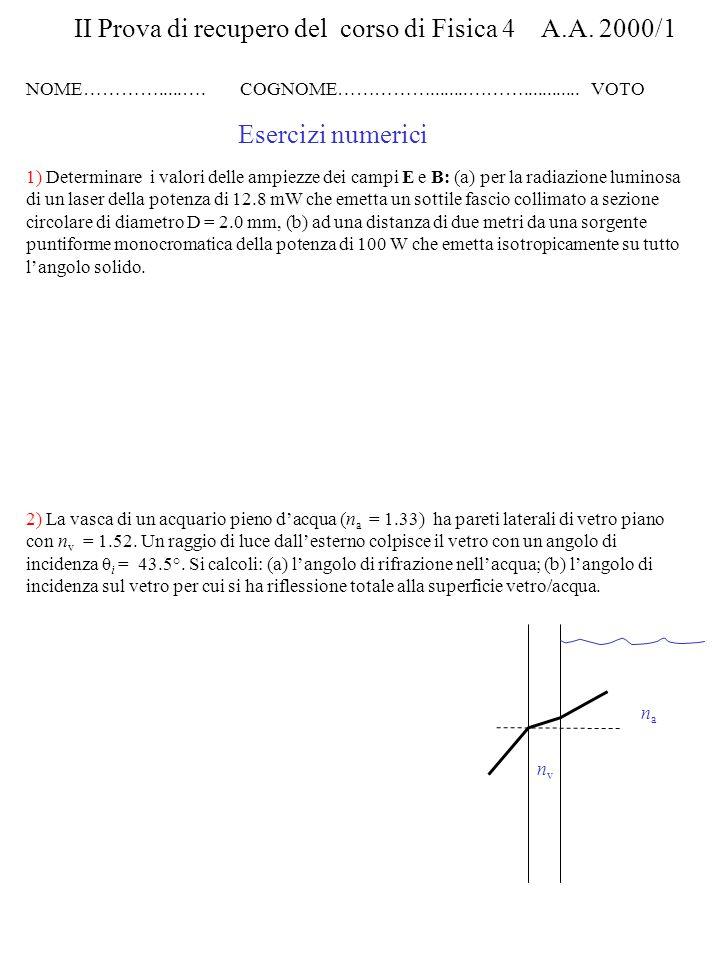 II Prova di recupero del corso di Fisica 4 A.A. 2000/1
