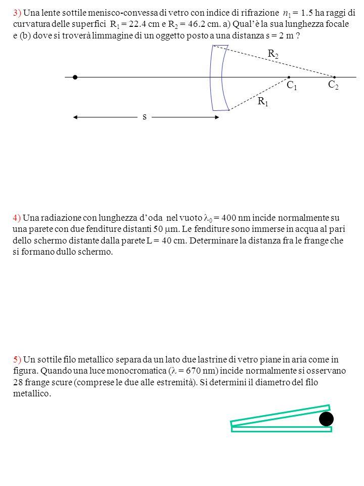 3) Una lente sottile menisco-convessa di vetro con indice di rifrazione n1 = 1.5 ha raggi di curvatura delle superfici R1 = 22.4 cm e R2 = 46.2 cm. a) Qual'è la sua lunghezza focale e (b) dove si troverà limmagine di un oggetto posto a una distanza s = 2 m