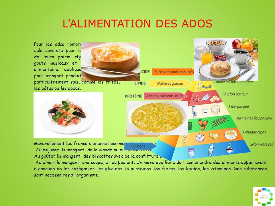 L'ALIMENTATION DES ADOS