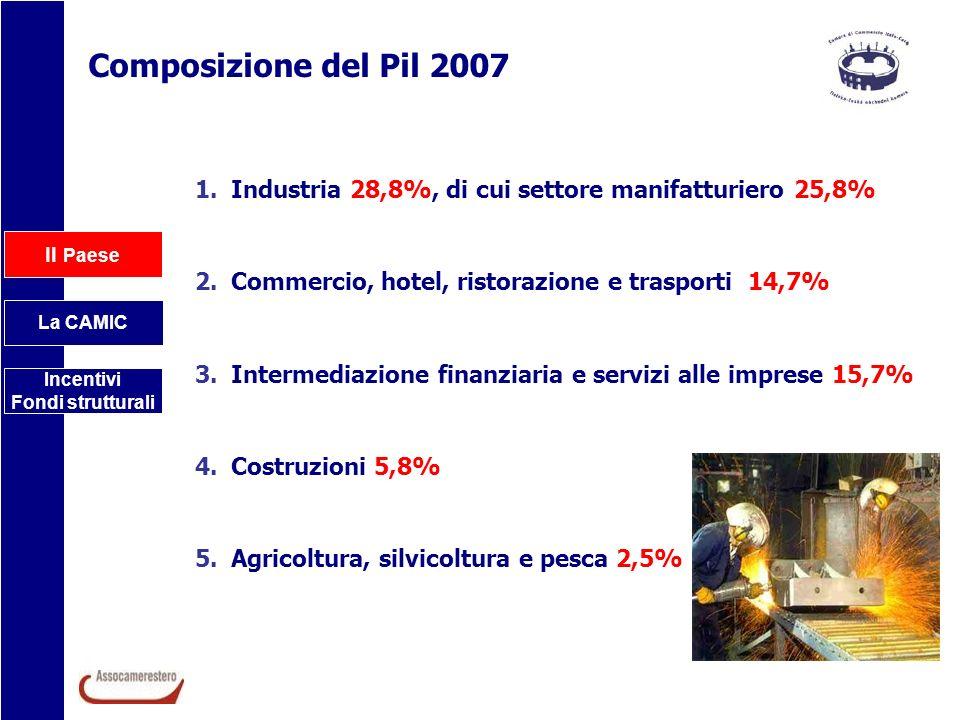Composizione del Pil 2007 Industria 28,8%, di cui settore manifatturiero 25,8% Commercio, hotel, ristorazione e trasporti 14,7%