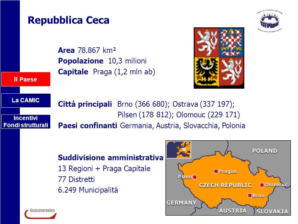 Repubblica Ceca Area 78.867 km² Popolazione 10,3 milioni