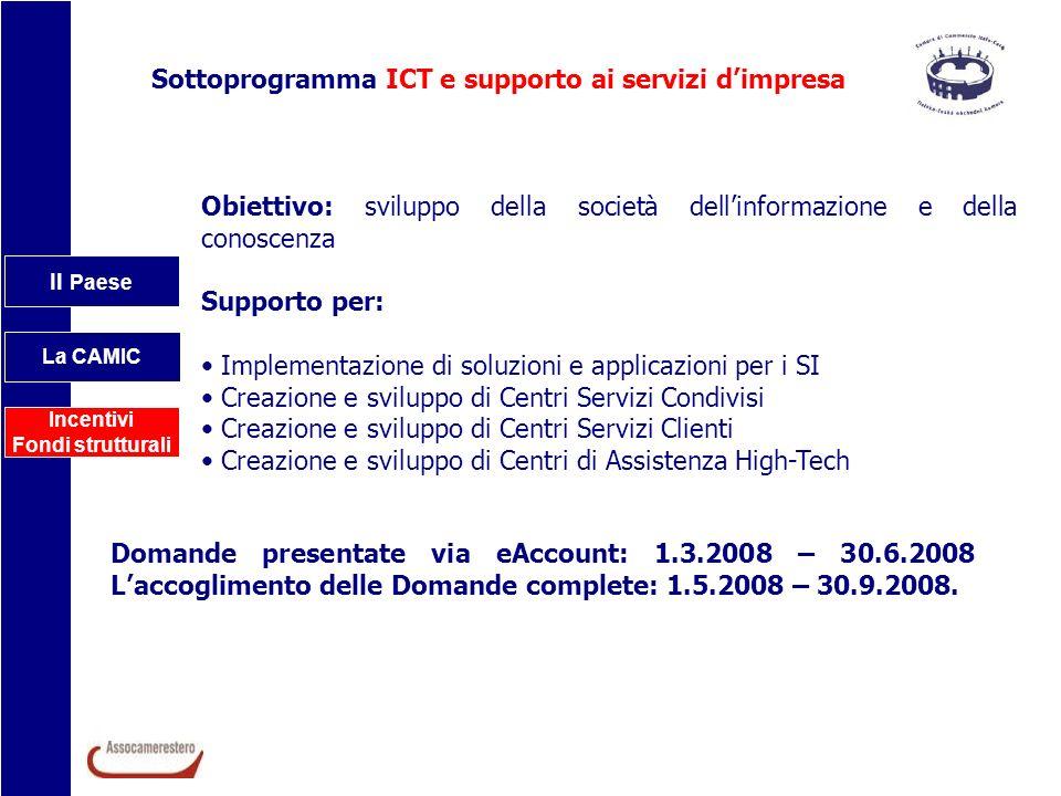 Sottoprogramma ICT e supporto ai servizi d'impresa