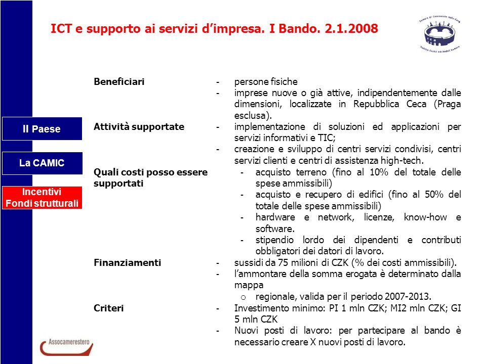 ICT e supporto ai servizi d'impresa. I Bando. 2.1.2008