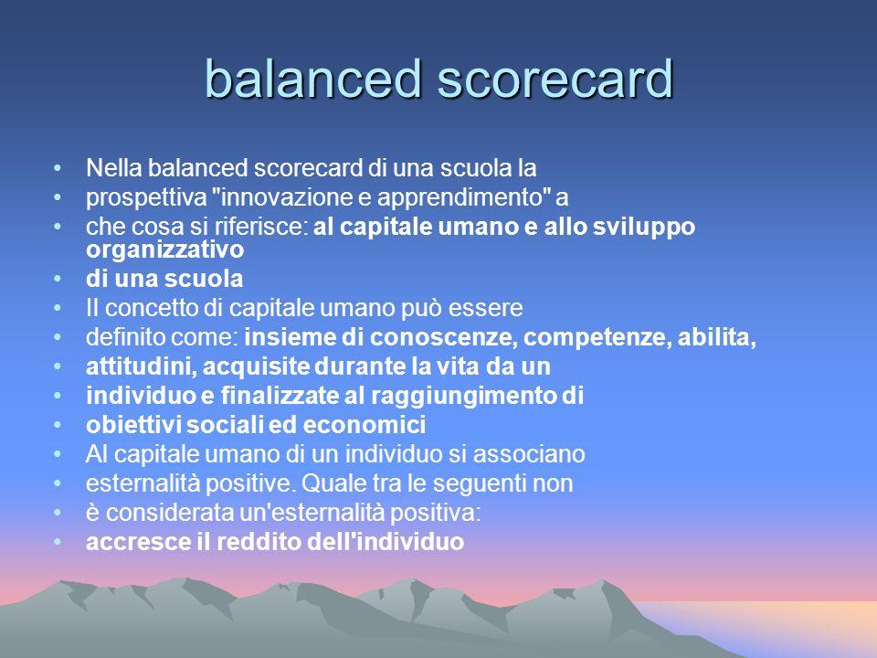 balanced scorecard Nella balanced scorecard di una scuola la