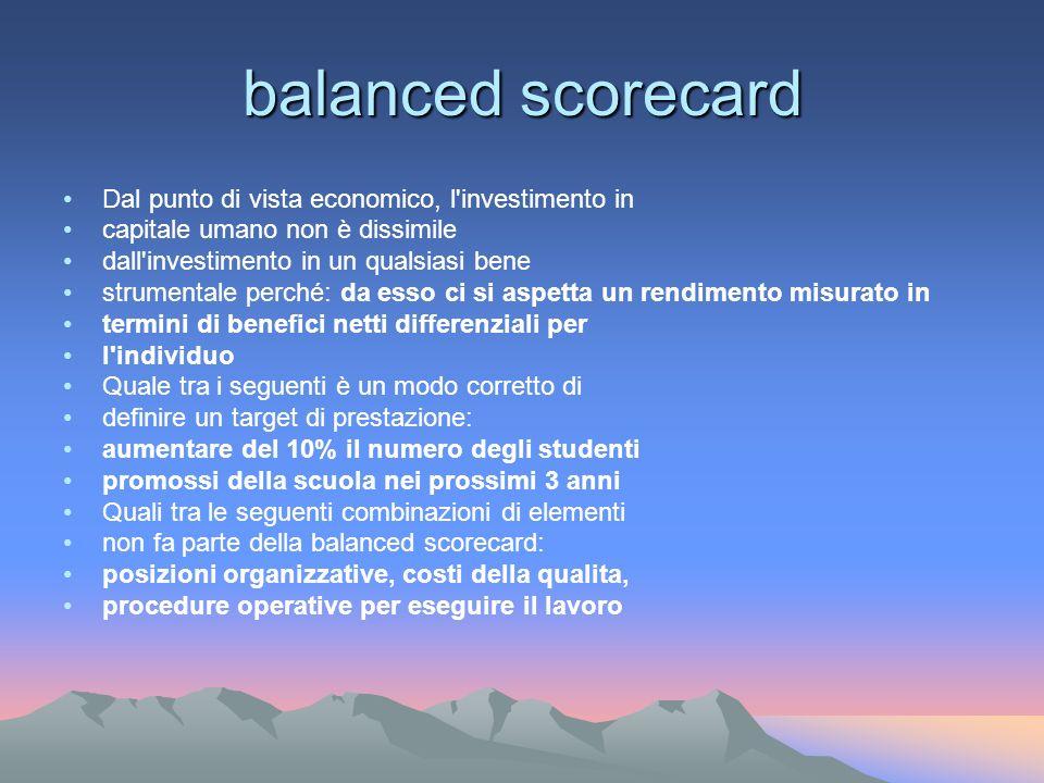 balanced scorecard Dal punto di vista economico, l investimento in