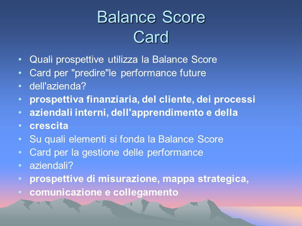 Balance Score Card Quali prospettive utilizza la Balance Score