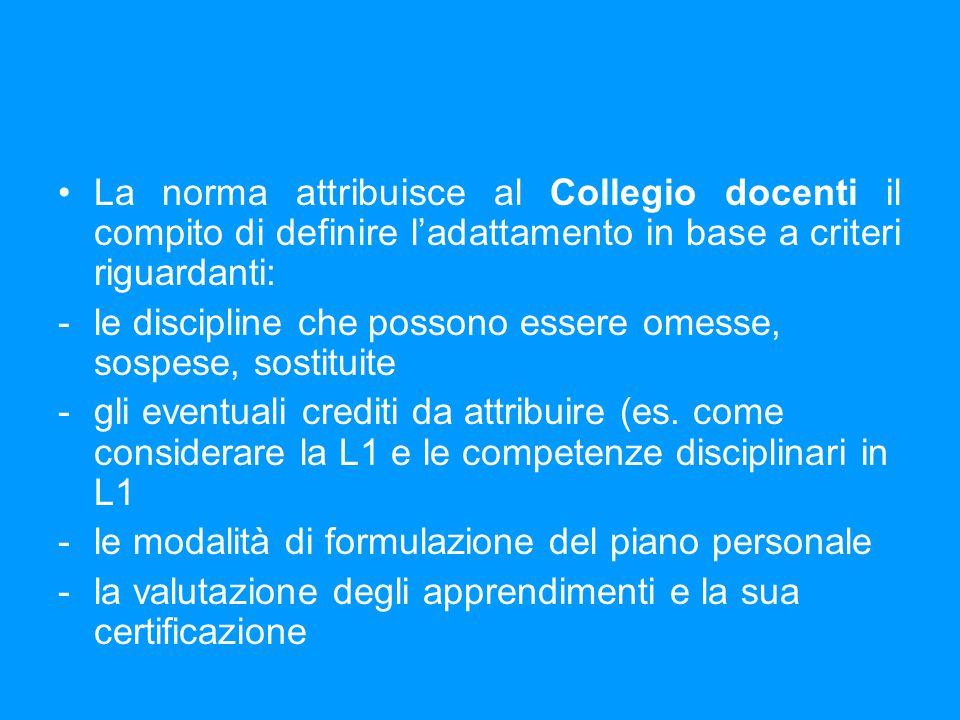 La norma attribuisce al Collegio docenti il compito di definire l'adattamento in base a criteri riguardanti: