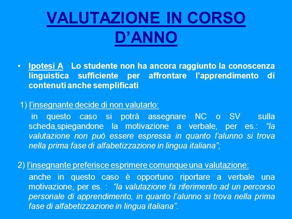 VALUTAZIONE IN CORSO D'ANNO
