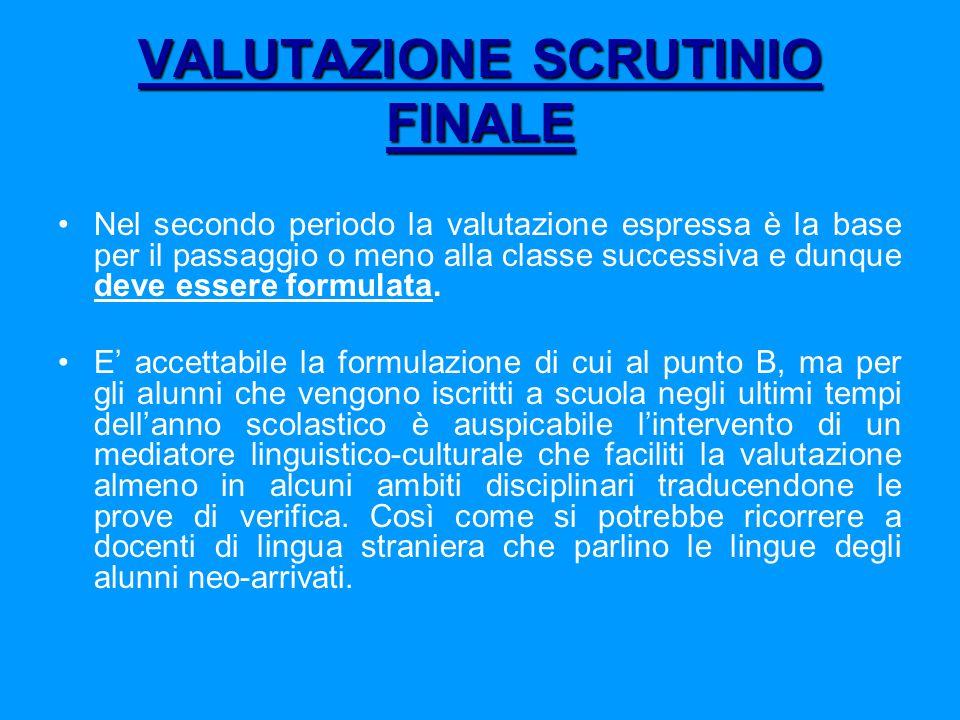 VALUTAZIONE SCRUTINIO FINALE