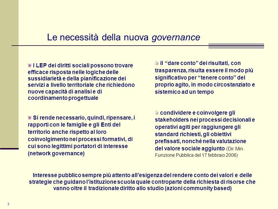 Le necessità della nuova governance