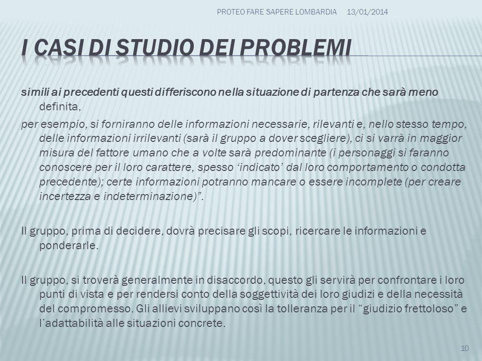 I casi di studio dei problemi