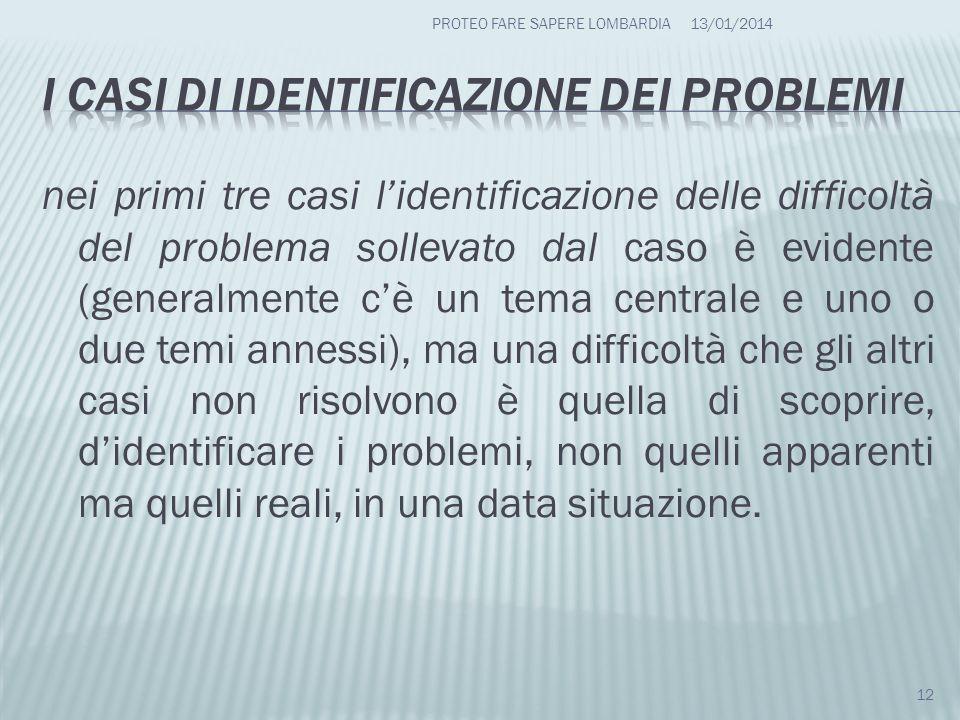 I casi di identificazione dei problemi