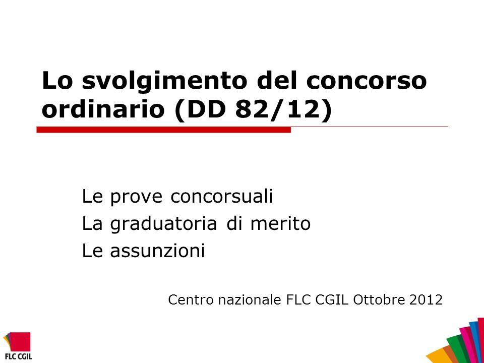 Lo svolgimento del concorso ordinario (DD 82/12)