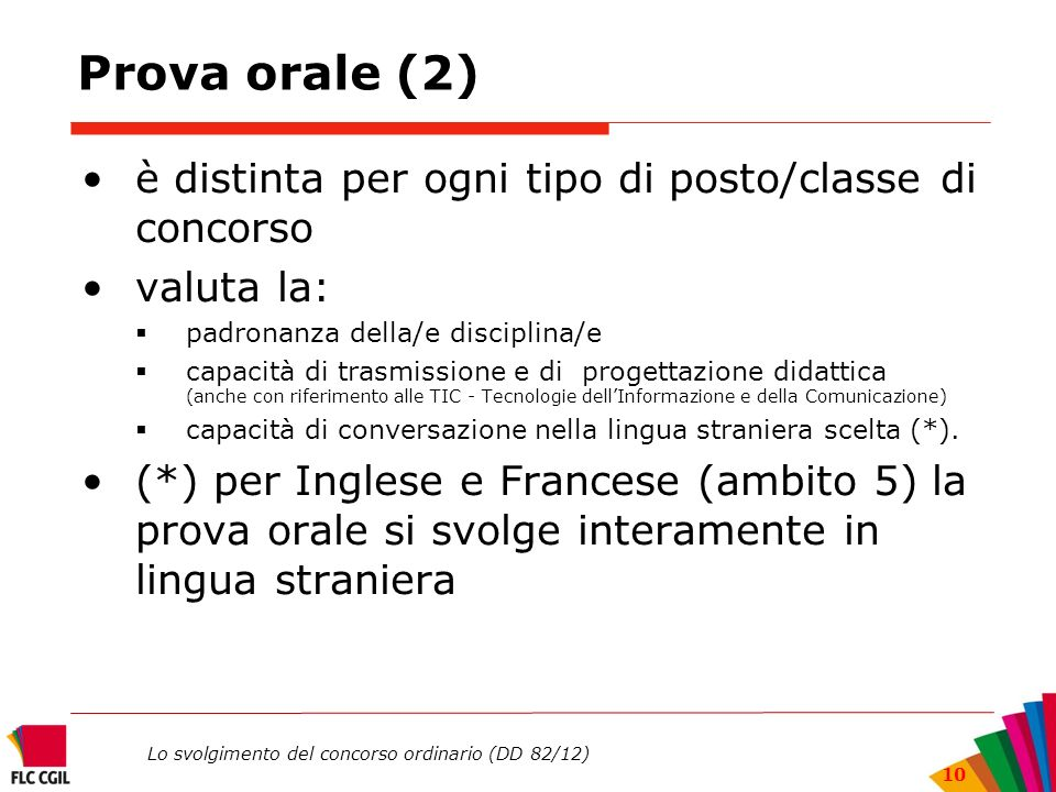 Prova orale (2) è distinta per ogni tipo di posto/classe di concorso