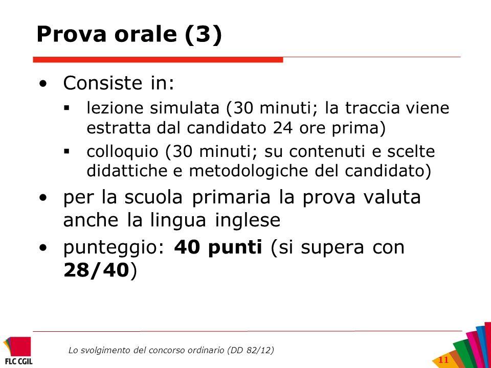 Prova orale (3) Consiste in: