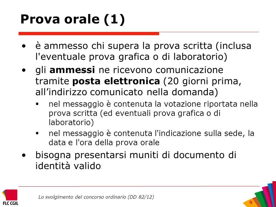 Prova orale (1)è ammesso chi supera la prova scritta (inclusa l eventuale prova grafica o di laboratorio)