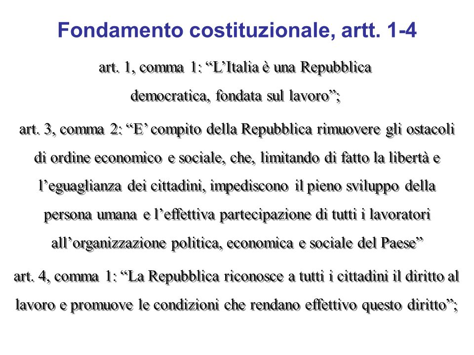 Fondamento costituzionale, artt. 1-4