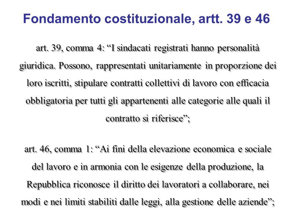 Fondamento costituzionale, artt. 39 e 46