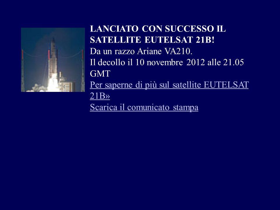 LANCIATO CON SUCCESSO IL SATELLITE EUTELSAT 21B!