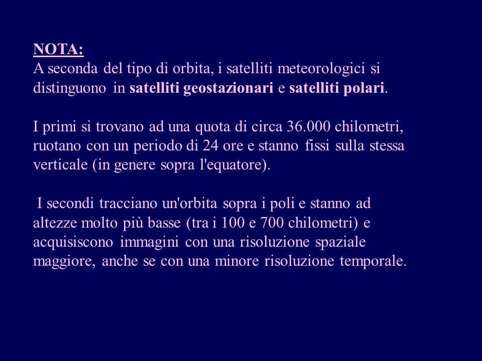 NOTA: A seconda del tipo di orbita, i satelliti meteorologici si distinguono in satelliti geostazionari e satelliti polari.