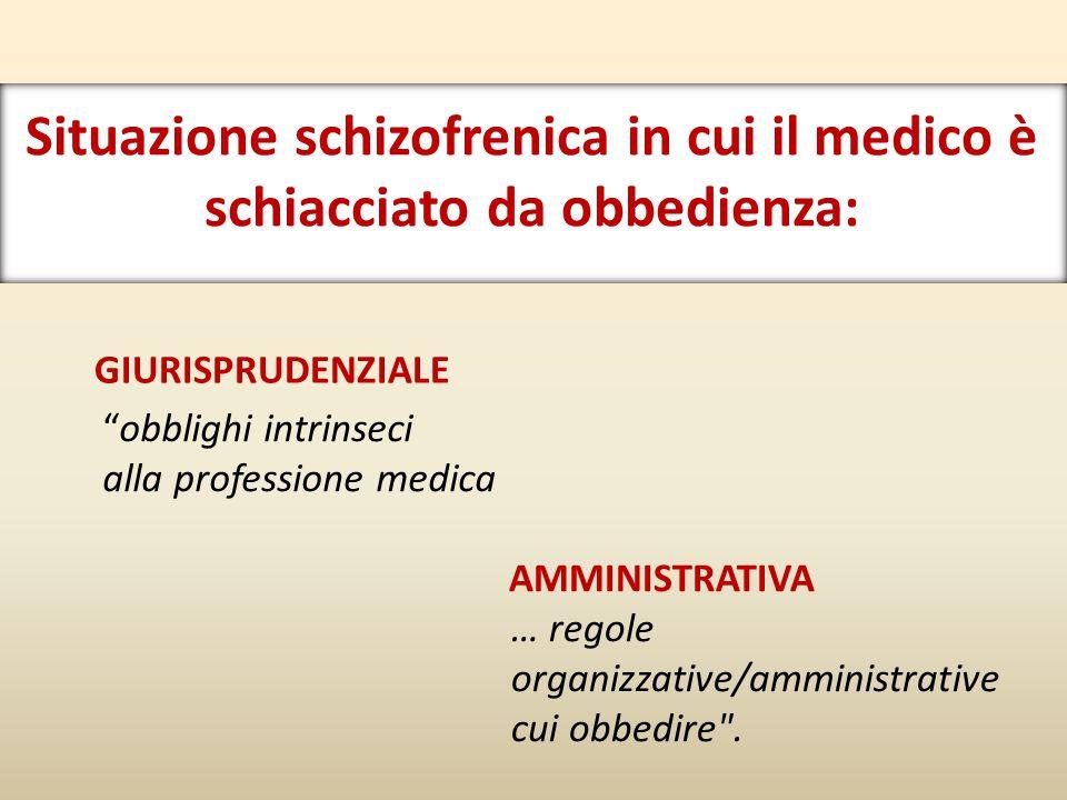 Situazione schizofrenica in cui il medico è schiacciato da obbedienza: