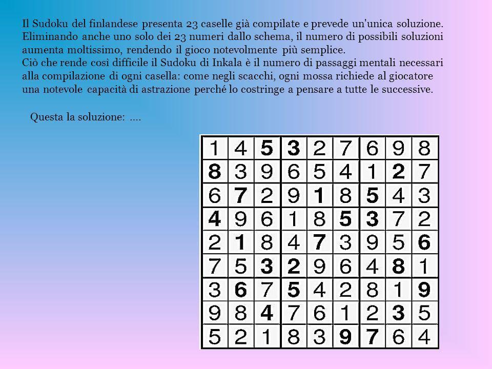 Il Sudoku del finlandese presenta 23 caselle già compilate e prevede un unica soluzione. Eliminando anche uno solo dei 23 numeri dallo schema, il numero di possibili soluzioni aumenta moltissimo, rendendo il gioco notevolmente più semplice. Ciò che rende così difficile il Sudoku di Inkala è il numero di passaggi mentali necessari alla compilazione di ogni casella: come negli scacchi, ogni mossa richiede al giocatore una notevole capacità di astrazione perché lo costringe a pensare a tutte le successive.