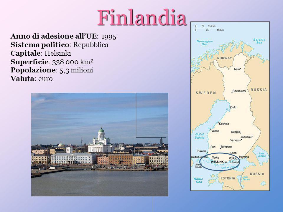 Finlandia Anno di adesione all'UE: 1995 Sistema politico: Repubblica