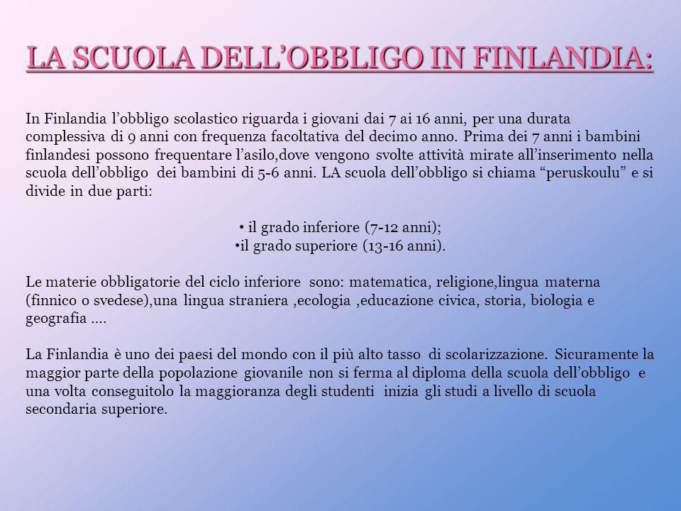 LA SCUOLA DELL'OBBLIGO IN FINLANDIA: