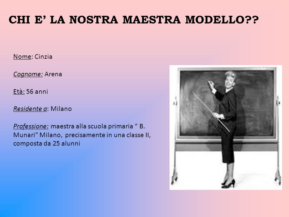 CHI E' LA NOSTRA MAESTRA MODELLO